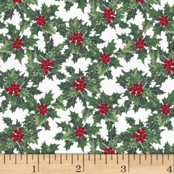 Hoffman Cardinal Carols Holly Metallic Mist/Silver Fabric