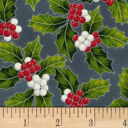 Hoffman Poinsettia Song Holly Metallic Charcoal/Silver Fabric