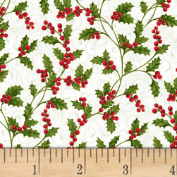 Hoffman Poinsettia Song Holly Berries Metallic Ivory/Gold Fabric