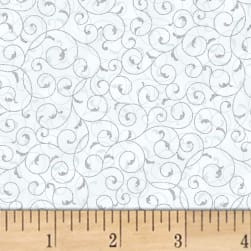 Hoffman Poinsettia Song Fleur Scroll Metallic Frost/Silver Fabric