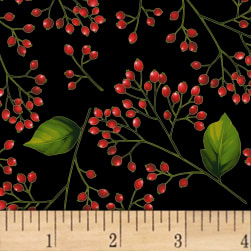 Hoffman Poinsettia Song Berry Branches Metallic Black/Gold Fabric