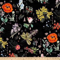 Hoffman Digital No Weeds Here Botanical Flowers Black