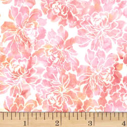 Hoffman Bali Batiks Graphic Floral Creamsicle Fabric