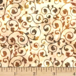 Hoffman Bali Batiks Scroll Amber Fabric
