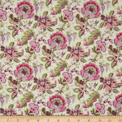 Stof France Valdrome Makayla Floral Ecru/Rose Fabric