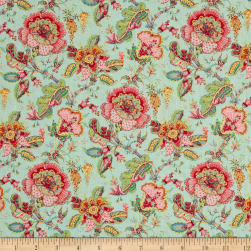 Stof France Valdrome Makayla Floral Perle/Lagon Fabric
