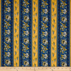 STOF France Valdrome Surya Stripe Bleu/Jaune Fabric