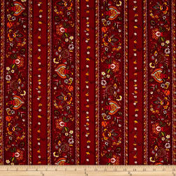 Stof France Valdrome Gentiane Stripe Rouge Red Fabric