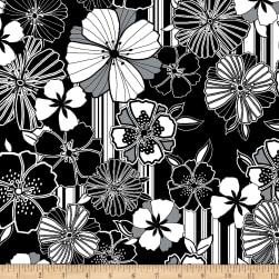 Kanvas Cherry Twist Graphic Poppy Black/White Fabric
