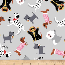 Puparazzi Pups Tossed Dogs Gray Fabric