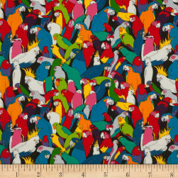 Rainbow Parrot Black Fabric