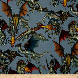 Tale of the Dragon Blue Grey Fabric