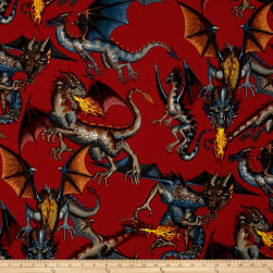 Tale of the Dragon Red Fabric