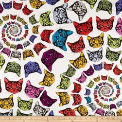 Alexander Henry Cat-finity Spiral Cats Natural/Multi Fabric