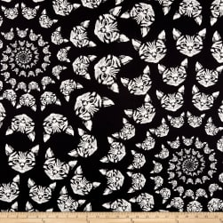 Alexander Henry Cat-finity Spiral Cats Black/White Fabric
