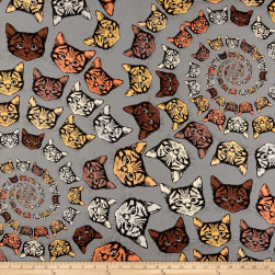 Alexander Henry Cat-finity Spiral Cats Brown Fabric