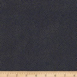 Timeless Treasures Metallic Spin Dot Navy Fabric