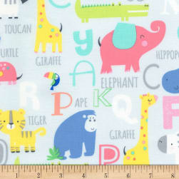 Timeless Treasures Jungle Paradise Animals & Alphabets Grey