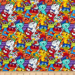 Timeless Treasures Crayon Party Stacked Cats Multi Fabric