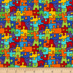 Timeless Treasures Crayon Party Puzzle Pieces Bright Fabric