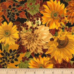 Timeless Treasures Bountiful Flowers Metallic Autumn Fabric