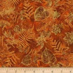 Timeless Treasures Bountiful Leaves Metallic Rust Fabric