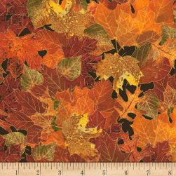Timeless Treasures Bountiful Fall Leaves Metallic Fall Fabric