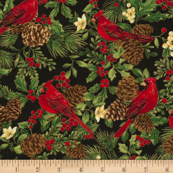 Timeless Treasures Joyful Season Cardinals & Pinecones Metallic