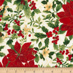 Timeless Treasures Joyful Season Poinsettias Metallic White