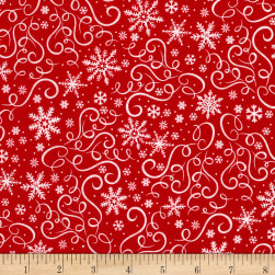 Timeless Treasures Baby It's Cold Outside Scroll & Snowflakes Red Fabric
