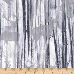 Timeless Treasures Snowscape Deer Silhouette Grey Fabric