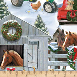 Timeless Treasures Snowy Stable Snow Fabric