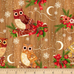 Timeless Treasures Flannel Festive Owls Coffee Fabric