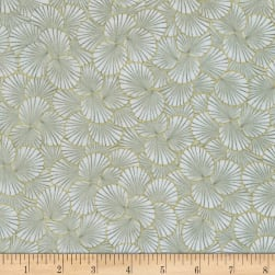 Timeless Treasures Metallic Sakura Packed Geo Leaf Grey