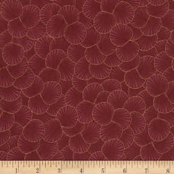 Timeless Treasures Metallic Sakura Packed Geo Leaf Maroon