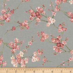 Timeless Treasures Metallic Sakura Blossom Grey Fabric