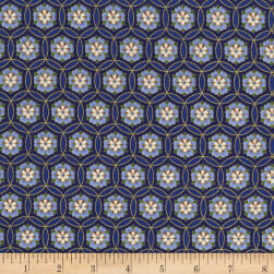 Timeless Treasures Metallic Sakura Geo Flower Royal Fabric
