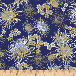Timeless Treasures Metallic Sakura Chrysanthemums Royal Fabric
