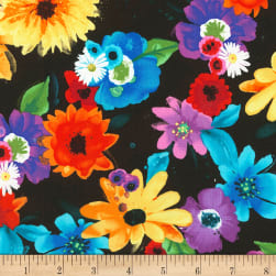 Timeless Treasures Butterfly Pavilion Flowers Black Fabric