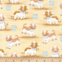 Timeless Treasures Flannel Cotton Tale Farm Cows Tan