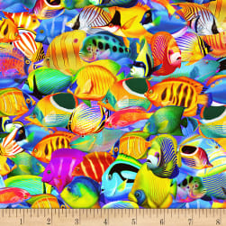 Timeless Treasures Sea Life Paradise Fish Electric Fabric