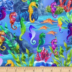 Timeless Treasures Sea Life Seahorses Sea Fabric