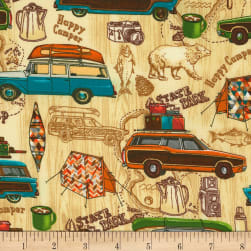 Timeless Treasures Happy Camper Camping Natural Fabric
