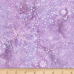 Timeless Treasures Tonga Batiks Gecko Flower Fantasy Lilac