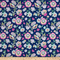 Amy Butler Night Music Midnight Bloom Indigo Fabric