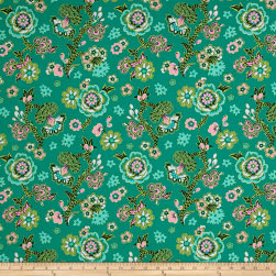 Amy Butler Night Music Midnight Bloom Teal Fabric