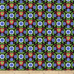 Jane Sassaman Folk Tales Flowered Coverlet Blue Fabric