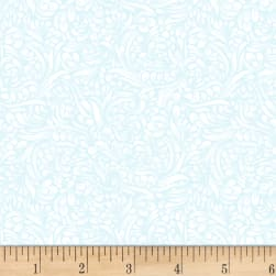 Hummingbird Bouquet Basic Sky Blue Fabric