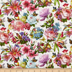Hummingbird Bouquet Allover Cream Fabric