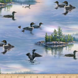 Loons Lake Life Blue Fabric